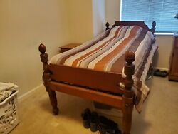 Antique Handmade Cherry Rope Bed C. 1800-1850 Lengthened To Fit Twin Mattress