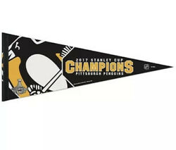 Pittsburgh Penguins 2017 Stanley Cup Champions Premium Quality Pennant 12x30