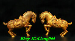 13old China Copper 24k Gold Gilt Feng Shui Stand Horse Success Statue Pair