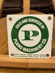 Vintage Plains Machinery Company Agricultural Tractor Texas Porcelain Sign