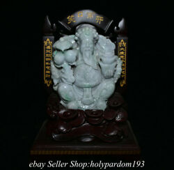 14 Chinese Emerald Jade Jadeite Carving Fengshui Mammon Wealth God Statue Fc