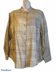 Vintage Ann May 100 Silk Blouse Long Sleeve Button Up Band Collar Career Med