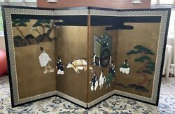 Good Vintage Japanese 4 Panel Screen Painting - Signed - People, Ox-cart, Clouds