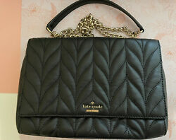 Euc Kate Spade Emelyn Chain Crossbody Chevron Quilted Leather Purse Bag Black