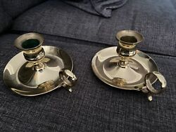 Pair 2 Of Vintage Baldwin Brass Chamberstick Candle Holders 2 3/8 Tall Euc