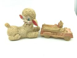2 Vtg Squeak Kids Toys Sun Rubber Pink Fire Engine And Stahlwood Lamb Donand039t Work
