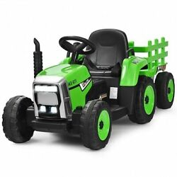 12v Ride On Tractor With 3-gear-shift Ground Loader For Kids 3+ Years Old-green