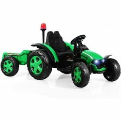 2 In 1 Electric 12v Kids Ride On Car Tractor With Remote Control Led Light Horn