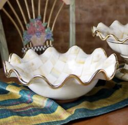 """New Mackenzie-childs Parchment Check Fluted Serving Bowl - 14.5 """"dia."""