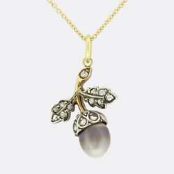 Victorian Black Pearl And Diamond Acorn Pendant Necklace 18ct Gold And Silver