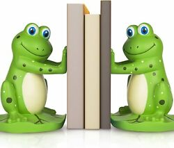 Joyvano Frog Bookends To Hold Books Unique Kidsand039 Room Book Ends W/ Non-slip Base