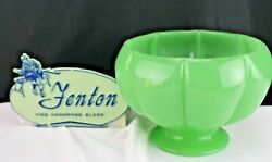 Antique Fenton Glass Jade/jadeite Green Footed Melon Shaped Bowl-collectible