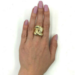 Estate 14k Yellow Gold Knot Design Statement Ring, Width 27mm, Size 7.25, 17.7g