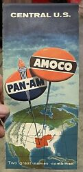 1958 Road Map Amoco And Pan-am Central U.s.a. Utoco White Rose American Oil Co