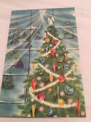 VTG Christmas Greeting Card Christmas tree with old ornaments