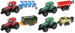 Friction Powered Tractors Big Pull Along Tractor Trailer Children Toys