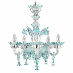 Hanging Chandelier Glass Murano 6xe14 Clear And Colour Customizable