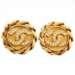 Authentic Vintage Clip On Earrings Cc Logo Rhinestone Round Af278