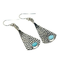 Hammered 925 Sterling Silver Handmade Russian Amazonite Earring 2.09 S2019