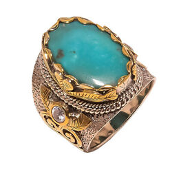 Santa Rosa Turquoise Vintage Gold Plated 925 Sterling Silver Ring S.7 S2021