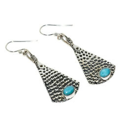 Hammered Solid 925 Sterling Silver Russian Amazonite Earring 2.09 S2083