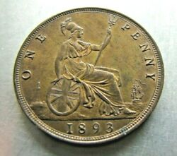 Great Britain Km755 Penny 1893 Lovely Red-brown Unc.