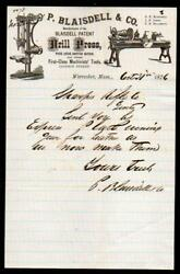 1876 Worcester Ma - P Blaisdell And Co - Drill Press - Sharps Rifle Co Letter Head