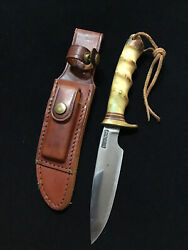 Vintage Randall Knife W/ Sheath - Early Pinned Stag - Finger Grooves