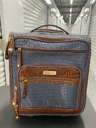 Samantha Brown Embossed Rolling Carry-it-all Bag Slate Blue Nwt Sold Out