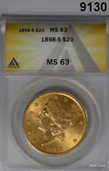1898 S 20 Gold Liberty Anacs Certified Ms63 Better Date Nice Luster 9130