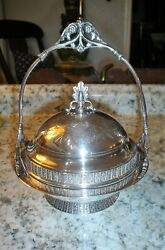 Beautiful Antique American, Victorian Silver Plate Covered Butter Dish