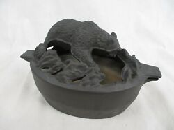 John Wright Cast Iron Oval Wood Stove Grizzly Bear Steamer Humidifier Pot