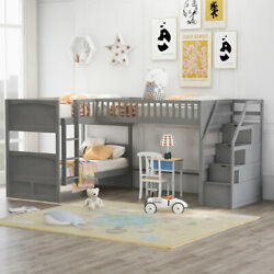 L-shaped Triple Bunk Beds Twin Over Twin With Twin Loft Bed And Ladder For Kids
