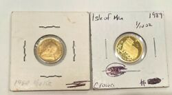 2 Gold Coins 1980 1/10 Oz Krugerrand And 1989 1/10 Oz Isle Of Man Crown