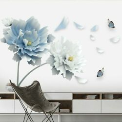 Removable Flowers Lotus Butterfly Wall Stickers 3D Wall Art Decals Home Decor US