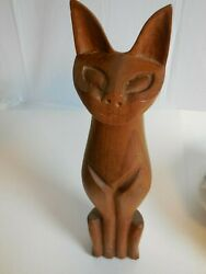 E8 Mid Century Carved Wood Cat Content Mischievous Kitty Cat Figurine 15