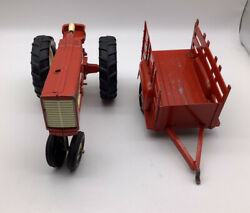 Vintage Hubley Red Farm Tractor Toy Metal With Cart