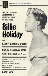 Billie Holiday 1958 Extrremely Rare Uk Promotional Flyer For Cancelled Concert