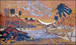 Ls033 66.93andtimes39.37 Palm Trees In The Desert Mosaic Wall Art