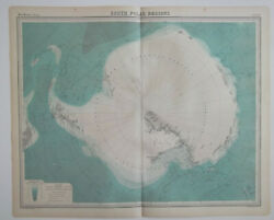 Original 1920 Map South Polar Regions Explorers Routes With Dates Pack Ice
