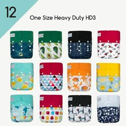 Kawaii Baby 12 One Size Hd3 Pocket Cloth Diapers + 12 5-layered Bamboo Inserts