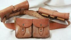 Vintage Hand Made Heavy Duty Leather Belt W/ Pouches. Ammunition Hiking France