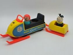 Vintage 1971-1973 705 Fisher Price Little People Family Mini Snowmobile