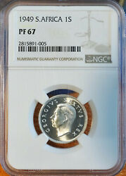 South Africa, 1949 One Shilling, Proof, Ngc Pr67