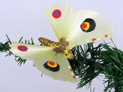 Antique Spun Glass Wing Composition Butterfly Clip On Christmas Ornament Germany