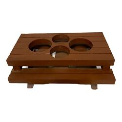 Condiment Wooden Picnic Table Holder For Tupperware