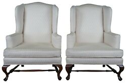 2 Hickory Chair Queen Anne Mahogany Wingback Club Library Arm Chairs Pair 45