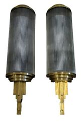 Pair Large Old Vintage Art Deco Brass And Glass Rod Ship Light Wall Sconces Lamp