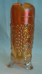 Vintage Marigold Northwood Grape And Cable Pattern Carnival Glass Hat Pin Holder