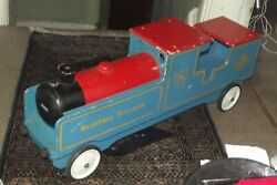 Vintage Wooden Child's Bluebell Express Ride-on Locomotive Long By Nicol Toys